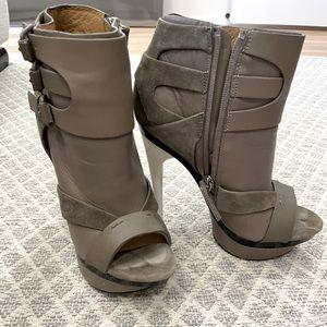 L.A.M.B. Dorrie Platform Open Toe Heels Grey 6 1/2